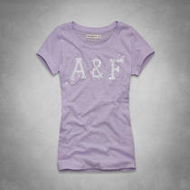 Nwt Abercrombie & Fitch Women a & F Shine Logo Tee T Shirt Top Lilac L Large Photo