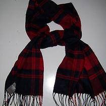 Nwt Abercrombie Nova Check Fringe Women Scarf Red Blue Check 58 New Soft Unisex Photo