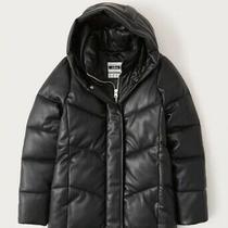 Nwt Abercrombie Ultra-Mid Length Black Vegan Leather Puffer Jacket Size Xs Photo