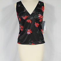 Nwt Adrianna Papell Black Beaded Floral Sleeveless Formal Top Red Roses Sz S 89 Photo