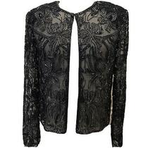 Nwt Adrianna Papell Boutique Evening Womens 100% Silk Beaded Sheer Open Jacket M Photo