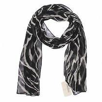 Nwt Adrienne Landau Women Black Silk Scarf One Size Photo