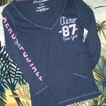 Nwt Aeropostale L/s Soft Beach Top Navy Blue Large Pink Bling Photo