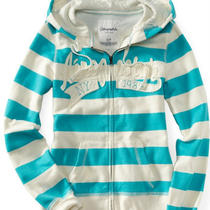 Nwt Aeropostale Women Aero 87 Rugby Stripe Full-Zip Hoodie Size 2xl White/aqua Photo