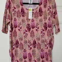 Nwt Agnes & Dora Dolman Top Tunic Shirt a&d Blush Berry Tan Feather Print Xs Photo