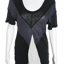 Nwt Aiko Black Ink Quartz Linen Color Block Short Sleeve Blouse Sz L 120 Photo
