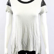 Nwt Aiko Quartz Black Leather Trim Scoop Neck Short Sleeve T-Shirt Sz S 192 Photo