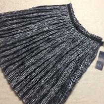 Nwt - Ak Ann Klein Black and White Pleated Swing Skirt - Size 10    Photo