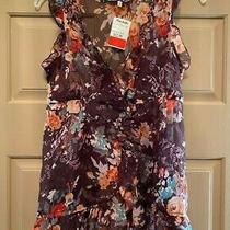 Nwt Aldo Trevi Sheer Ruffle Floral Top Size Large Photo