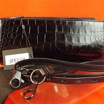 Nwt Alexander Wang Black Leather Crocco Print Pelican Cross Body Bag Clutch   Photo