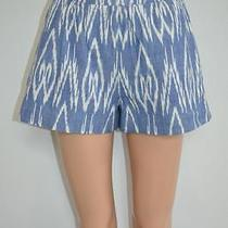Nwt Alice  Olivia Blue/white Aztec Print Cotton Shorts Sz 0 198 Photo