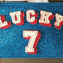 Nwt Alice  Olivia Lucky 7  Zip Coin/wallet - Bright Blue Glitter Sparkly Photo