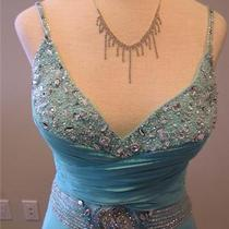 Nwt Alyce Social Prom Formal Pageant Silk Dress Aqua Blue 6834 Size 10 Photo