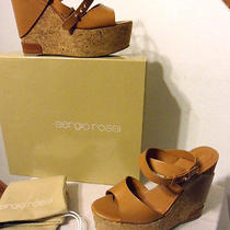 Nwt and Box Sergio Rossi Strappy Leather Tan Wedge Shoes Size 38.5 Free Shipping Photo