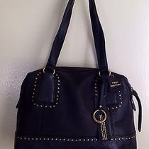 Nwt Andrea Jovine Black  Studded Leather Parker Satchel 238 Msrp W/free Earring Photo
