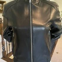 Nwt Andrew Marc Women Biker/moto Black Leather Jacket  Size L Photo