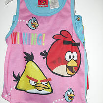 Nwt Angry Birds Girls' 2-Piece Sleepwear. Size S (6-6x). Aqua Blue & Pink. Photo