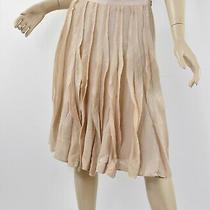 Nwt Ann Taylor Blush Pink Shimmer Silk Ruffle Pleated Cascade Flared Skirt M 6 Photo