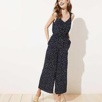 Nwt Ann Taylor Loft Navy Blue Polka Dot Smocked Jumpsuit Size 12 100 New Photo