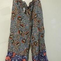 Nwt Ann Taylor Loft Size Xl Floral Orange Blue Beige Mint 3/4 Loose Pant Women Photo