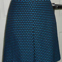 Nwt Ann Taylor Loft Sweet N Sassy Short Straight Skirt Black Aqua Blue Dots 4 Photo