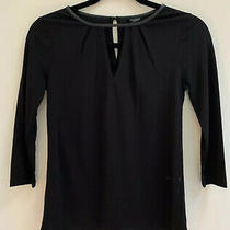 Nwt Ann Taylor Petite Black Key Hole Neckline Faux Leather Trim Top Sz Xsp Photo