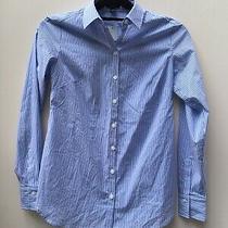 Nwt Ann Taylor Petite Blue/white Striped Button Down L/s Blouse Shirt Size 0p   Photo