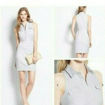 Nwt Ann Taylor Petite Gray & White Cotton Blend Shirt Dress Sz 2p  Msrp 139 Photo