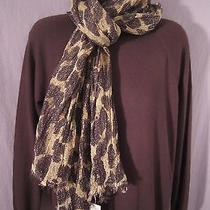 Nwt Ann Taylor Women's Scarf One Size Animal Print Browns Tan Metallic Wool D/c Photo