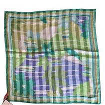 Nwt Anne Klein Ak 100% Silk Square Scarf Green Blue Multicolor 21