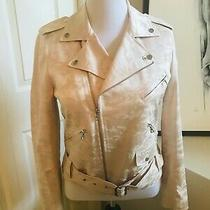 Nwt Anne Klein Camo Moto Jacket Cream Color Fully Lined Size 10 Retails 169 Photo
