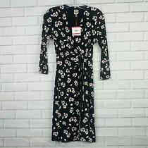 Nwt Anne Klein Faux Wrap Dress Black Pink Floral Xxs First Blush Photo