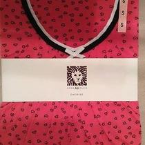 Nwt Anne Klein Hot Pink Black Hearts Chemise Nightgown Pajamas Size S Small Photo