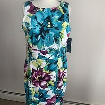 Nwt Anne Klein Teal Pink Floral Sleeveless Casual Career Dress Msrp 139 Size 8  Photo