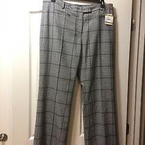 Nwt-Anne Klein Wide Leg Trouser Pants Houndstooth ( Black & White ) Size 14 Photo