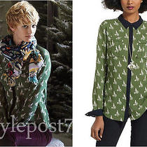 Nwt Anthropologie Bagatelle Bikes Buttondown Shirt Green Size 2 Photo