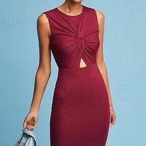 Nwt Anthropologie  Bailey 44 Knotted Front Cutout Dress M Burgundy Red 148 New Photo