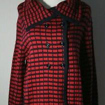Nwt Anthropologie Beth Bowley Chunky Red & Navy Sweater Jacket  Size Large Photo