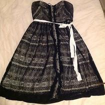 Nwt Anthropologie Black/lace on Nude Strapless Dress Size 6 Nice  Photo