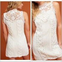 Nwt Anthropologie Corey Lynn Calter Crochet Knit Mini Dress Floral L White 248  Photo