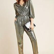 Nwt Anthropologie Dolan Glitter Knit Wrap Jumpsuit Silver Shine Black L Large 14 Photo