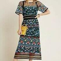 Nwt Anthropologie Esther Embroidered Midi Dress Size Petite 6 258 Photo