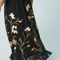 Nwt Anthropologie Flounced Black Tulle Maxi Skirt Embroidered 4 Varun Bahl 188 Photo