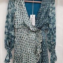 Nwt Anthropologie Hemant & Nandita Metallic Paisley Blue Short Dress Small Photo