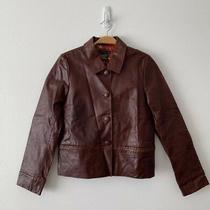 Nwt Anthropologie Leather Jacket Blazer Brown Retail 298 Size S Photo