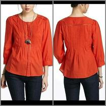 Nwt Anthropologie Meadow Rue Orange Fluted Tunic Blouse Shirt New Size 0 Xs Photo