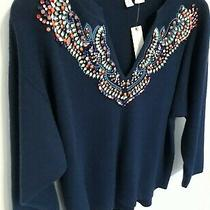 Nwt Anthropologie Navy Jewel Embellished Sweater by Moth Size Xs 168 Photo