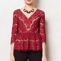 Nwt Anthropologie Needlelace Peplum Top by Maeve - Wine - Size Medium Photo