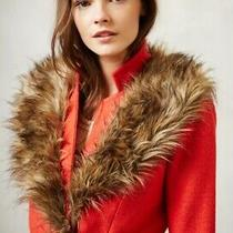 Nwt Anthropologie Plenty by Tracy Reese Coral Red Montaigne Coat Size 4 Faux Fur Photo