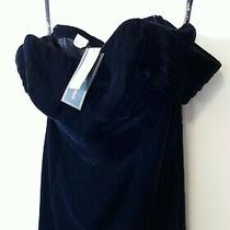 Nwt Anthropologie Shoshanna Velvet Off Shoulder Balmwell Dress Sz 8 Navy 468 Photo